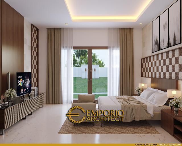 Desain Kamar Tidur Utama Rumah Villa Bali 1 Lantai Bapak Ayat di Serang, Banten