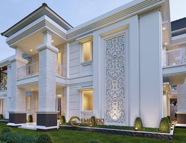 Desain Tampak Detail Samping Rumah Villa Bali 2 Lantai Bapak Ferry di Pekanbaru, Riau