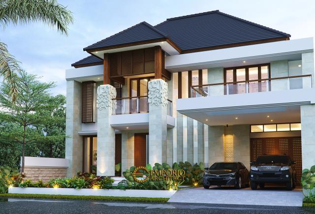 Desain Tampak Depan 2 Rumah Villa Bali 2 Lantai Bapak Andi di Bandung, Jawa Barat