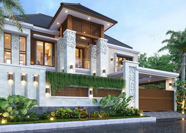 Desain Tampak Depan Dengan Pagar Rumah Villa Bali 2 Lantai Bapak Erik di Malang, Jawa Timur