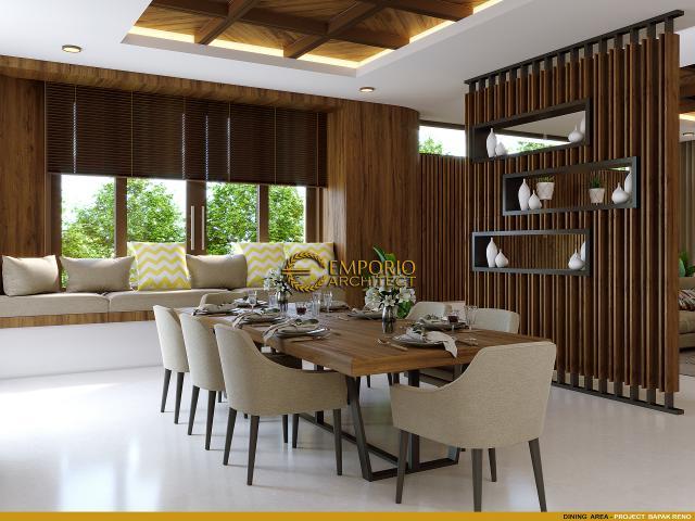 Desain Ruang Makan Rumah Villa Bali 2 Lantai Bapak Reno di Bandung, Jawa Barat