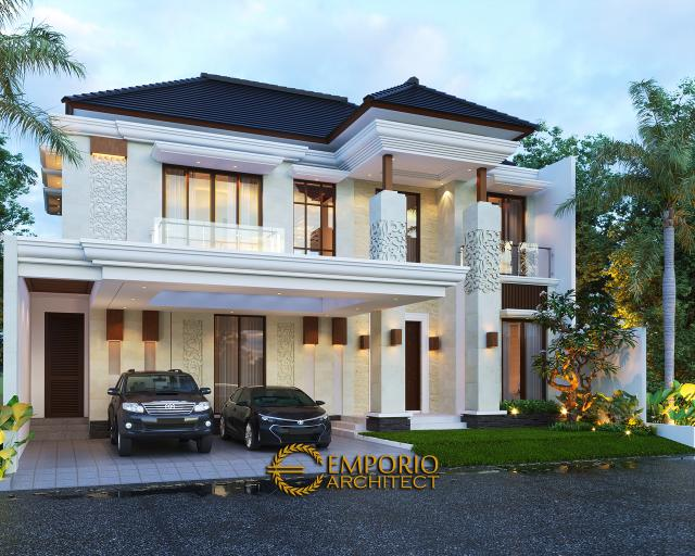 Desain Tampak Depan Tanpa Pagar 2 Rumah Villa Bali 2 Lantai Ibu Rosa di Bogor, Jawa Barat