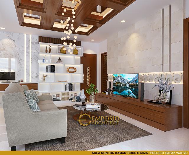 Desain Area Nonton Kamar Tidur Utama Rumah Villa Bali 2 Lantai Bapak Wahyu di Tangerang