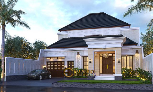 Desain Rumah Villa Bali 2 Lantai Bapak Harun di Binjai, Sumatera Utara - Tampak Depan Tanpa Pagar