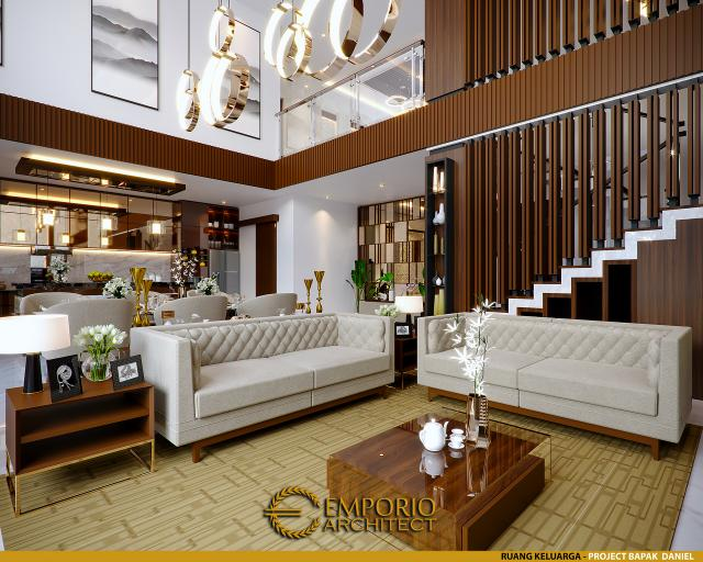 Desain Ruang Keluarga Rumah Villa Bali 2 Lantai Bapak Daniel di Gorontalo