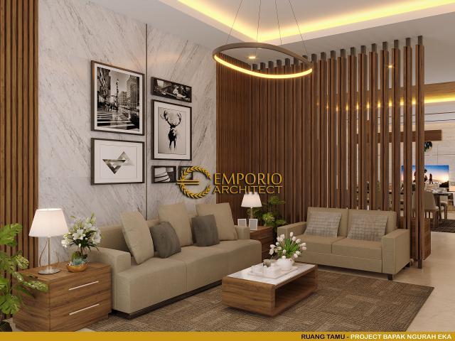 Desain Ruang Tamu Rumah Villa Bali 2 Lantai dr. Ngurah Eka di Denpasar, Bali