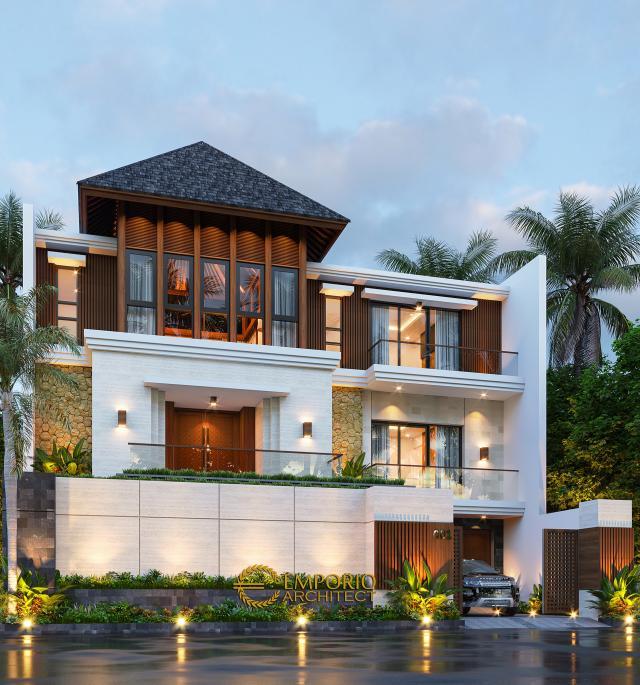 Desain Tampak Depan Kiri Rumah Villa Bali 2.5 Lantai Mr. Yusri di Malaysia