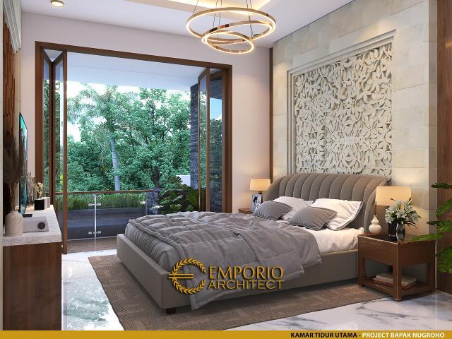 Desain Kamar Tidur Utama Rumah Villa Bali 3 Lantai Bapak Nugroho di Solo (Surakarta), Jawa Tengah
