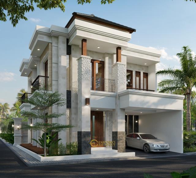 Desain Tampak Depan 1 Rumah Villa Bali Classic 2 Lantai Bapak Toni di Batam