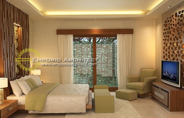 Desain Kamar Tidur 1 Villa Style Villa Bali 2 Lantai Ibu Hetty di Jawa Tengah