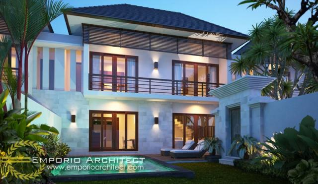 Desain Exterior Villa Style Villa Bali 2 Lantai Ibu Agustina di Gianyar, Bali