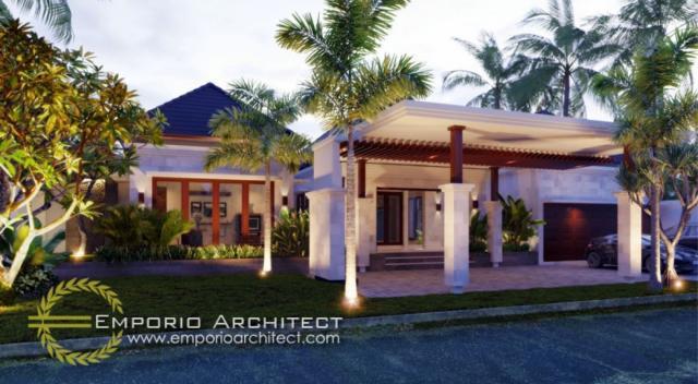 Desain Tampak Depan Villa Style Villa Bali 1 Lantai Ibu Theresia di Jawa Barat