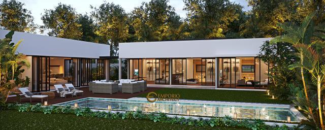 Desain Tampak Samping Villa Modern 1 Lantai Ibu Natalia di Bali