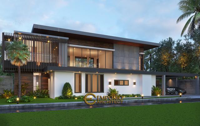 Desain Tampak Depan Tanpa Pagar 2 Villa Modern Industrial 2 Lantai Ibu Ista di Bogor