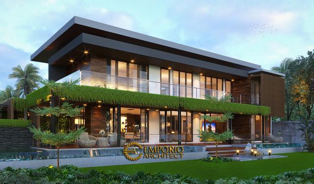 Desain Tampak Belakang 1 Villa Modern Industrial 2 Lantai Ibu Ista di Bogor