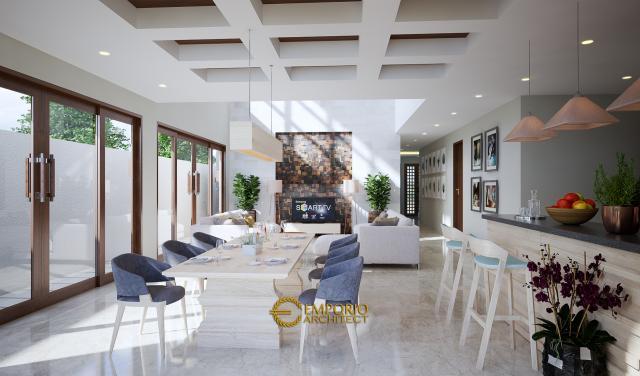 Desain Ruang Makan, Dapur, dan Ruang Keluarga Rumah Modern 2 Lantai Bapak Ahyar di Aceh