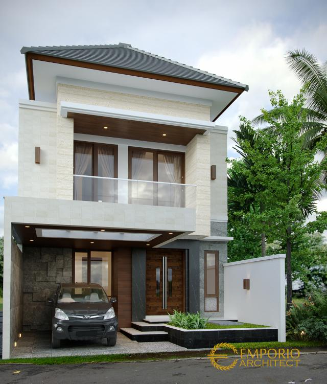 Desain Tampak Depan Tanpa Pagar Rumah Modern 2 Lantai Ibu Desi di Badung, Bali
