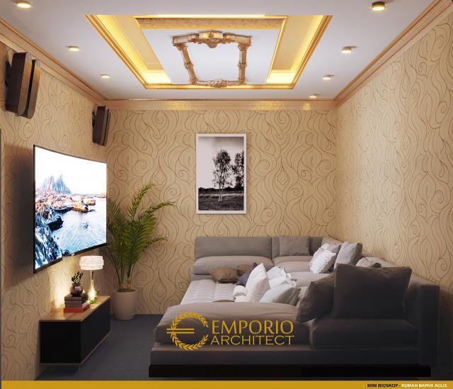 Desain Mini Bioskop Rumah Mediteran 2 Lantai Bapak Agus di Balikpapan