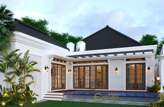 Desain Tampak Belakang Rumah Classic 1 Lantai Bapak Abdullah di Bandung
