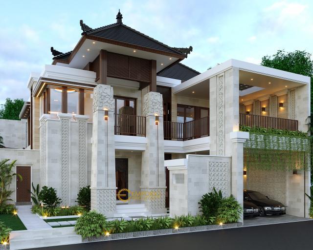 Desain Tampak Depan Rumah Villa Bali 2 Lantai Bapak Heri Supriatianto di Bandung