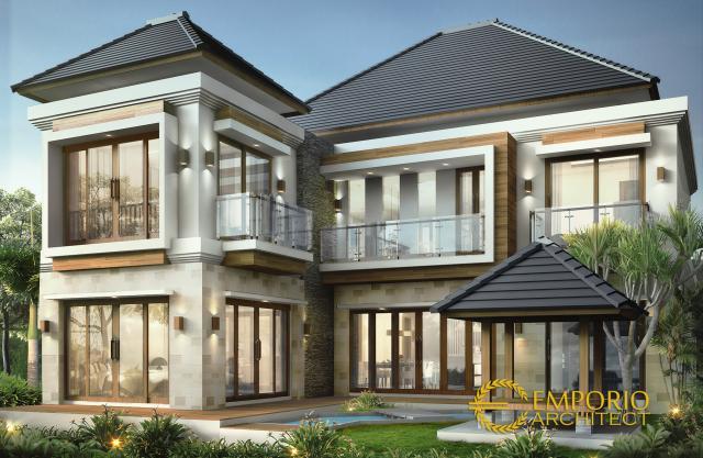 Desain Tampak Belakang Rumah Villa Bali 2 Lantai Ibu Dewi di Bandung