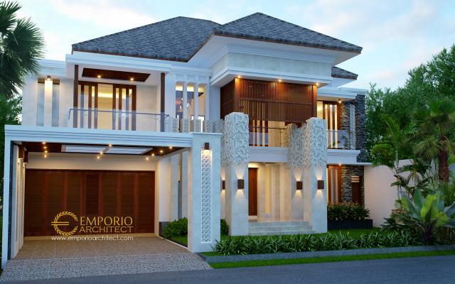 Desain Tampak Depan Rumah Villa Bali 2 Lantai Beverly Ave Type A10 di Batam