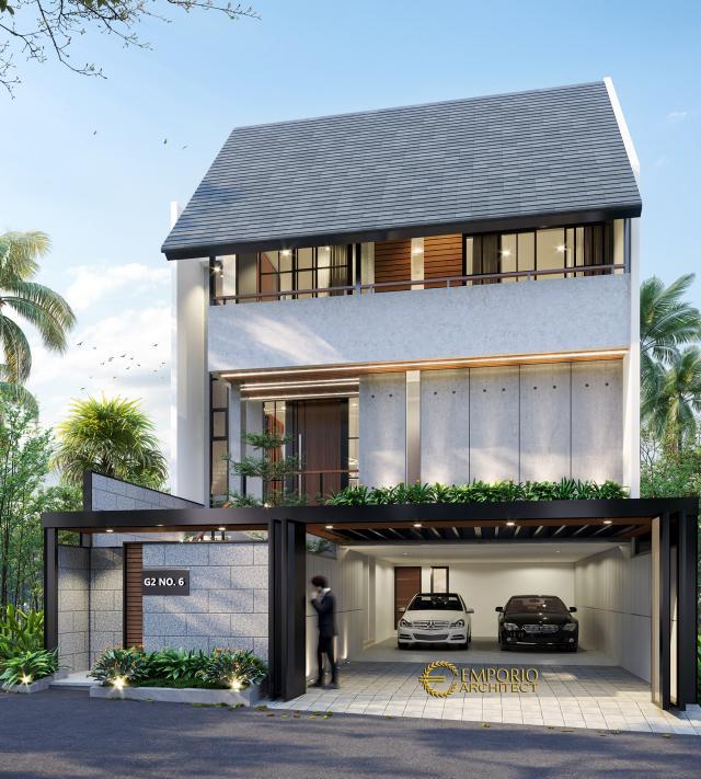 Desain Tampak Depan 1 Rumah Modern Industrial 3 Lantai Ibu Indri di Bekasi, Jawa Barat