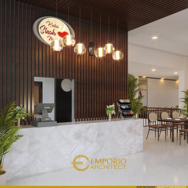 Desain Kasir Restaurant Toko Daging dan Kedai Steak Modern 2 Lantai Suri Nusantara di Bekasi, Jawa Barat