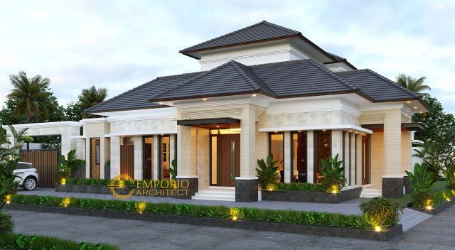 Desain Tampak Depan 1 Rumah Villa Bali 2 Lantai Bapak Fauzal di Bireuen, Aceh