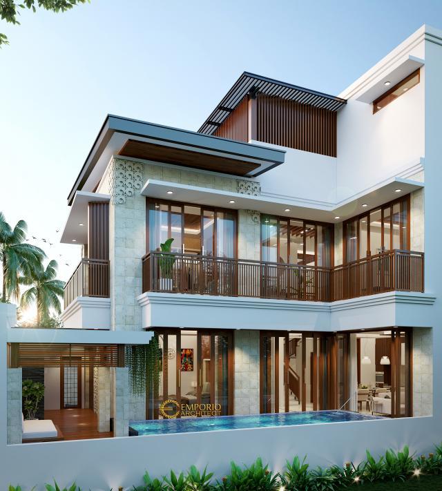 Desain Tampak Belakang Rumah Modern 3 Lantai Ibu Febby di Bogor, Jawa Barat