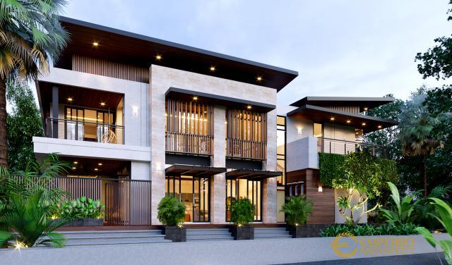 Desain Tampak Samping Rumah Modern 3 Lantai Ibu Kayla di BSD, Tangerang Selatan