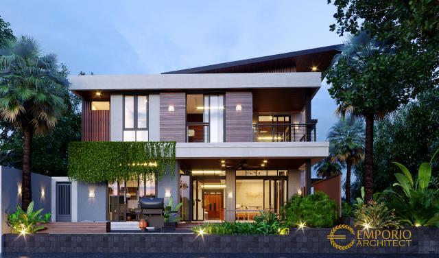 Desain Tampak Belakang Rumah Modern 3 Lantai Ibu Kayla di BSD, Tangerang Selatan