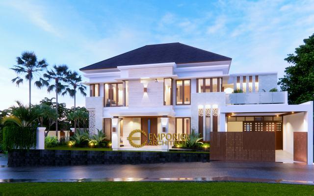 Desain Rumah Villa Bali 2 Lantai Ibu Indah di Cibubur, Jakarta Timur - Tampak Depan