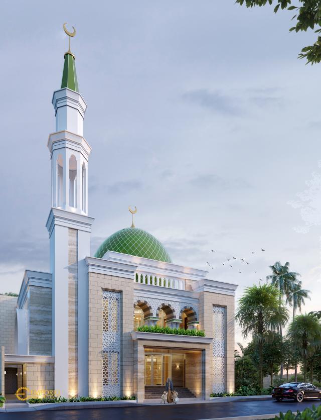 Desain Tampak Depan 2 Masjid Classic 2 Lantai Bapak Nasrul di Cikarang, Bekasi