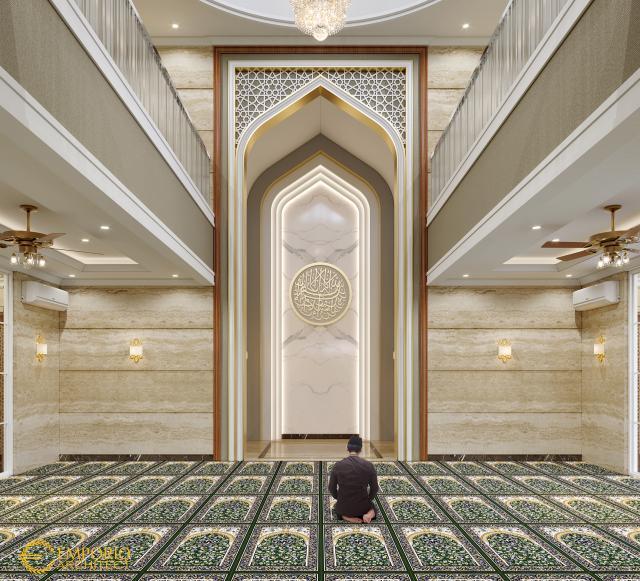 Desain Interior Masjid Classic 2 Lantai Bapak Nasrul di Cikarang, Bekasi
