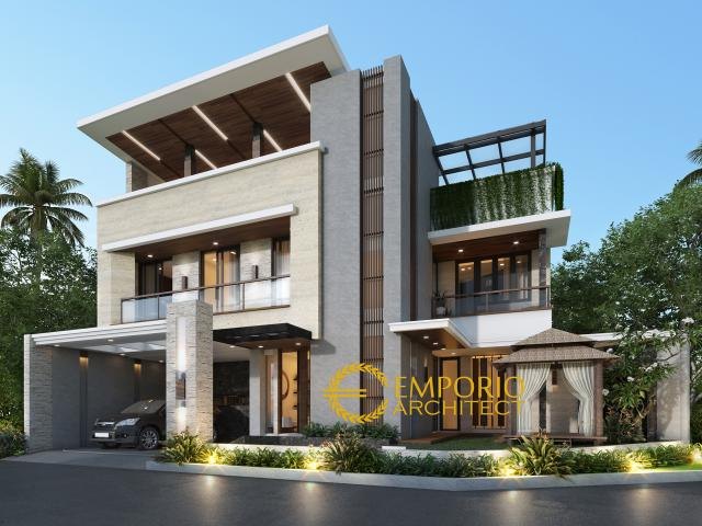 Desain Tampak Depan Tanpa Pagar Rumah Modern 3 Lantai Bapak Anggi di Depok, Jawa Barat