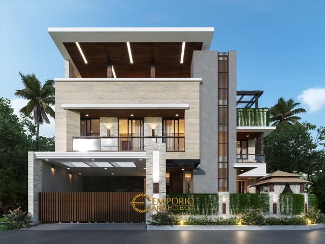 Desain Tampak Depan Dengan Pagar Rumah Modern 3 Lantai Bapak Anggi di Depok, Jawa Barat