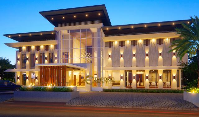 Desain Exterior 1 Hotel Modern 2 Lantai Ar Rayyan di Banjarmasin Kalimantan
