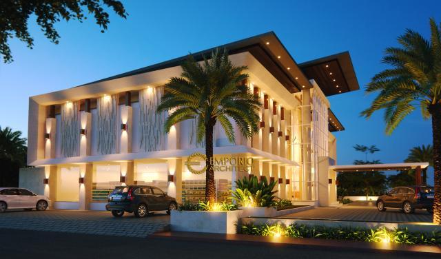 Desain Exterior 2 Hotel Modern 2 Lantai Ar Rayyan di Banjarmasin Kalimantan