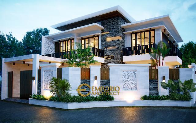 Desain Exterior Rumah Hook Modern 2 Lantai Bapak Andreas di Jakarta