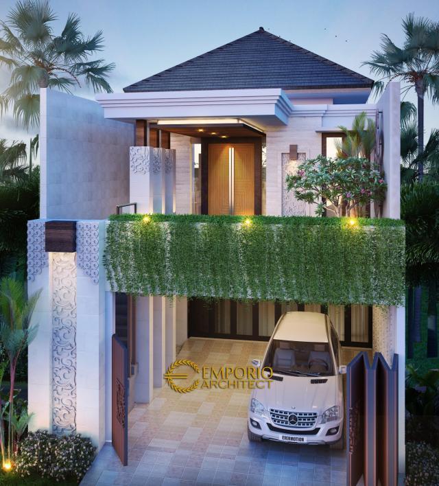 Desain Tampak Depan Rumah Villa Bali 2 Lantai Bapak Chaerul di Jakarta