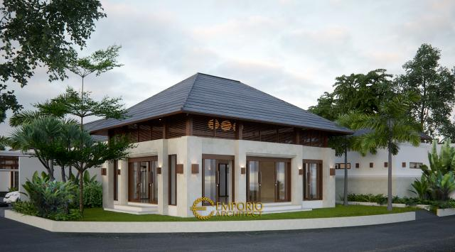 Desain Tampak Belakang Rumah Hook Villa Bali 1 Lantai Bapak Cicip di Tasikmalaya, Jawa Barat