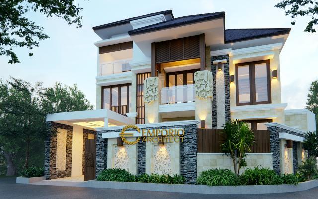 Desain Exterior Rumah Villa Bali 3 Lantai Bapak Djarot di Jakarta
