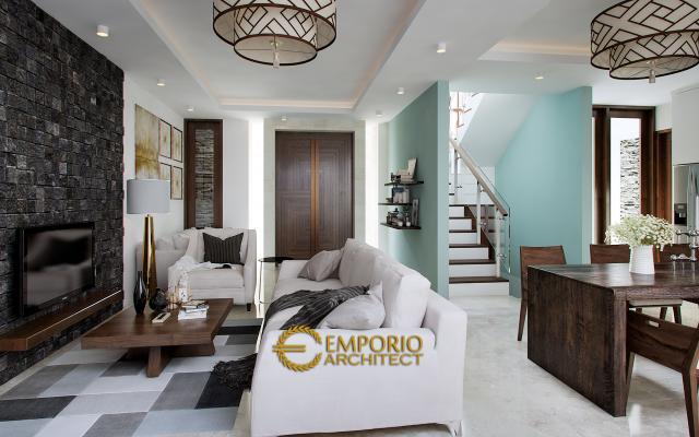 Desain Ruang Keluarga dan Ruang Makan Rumah Villa Bali 3 Lantai Bapak Djarot di Jakarta