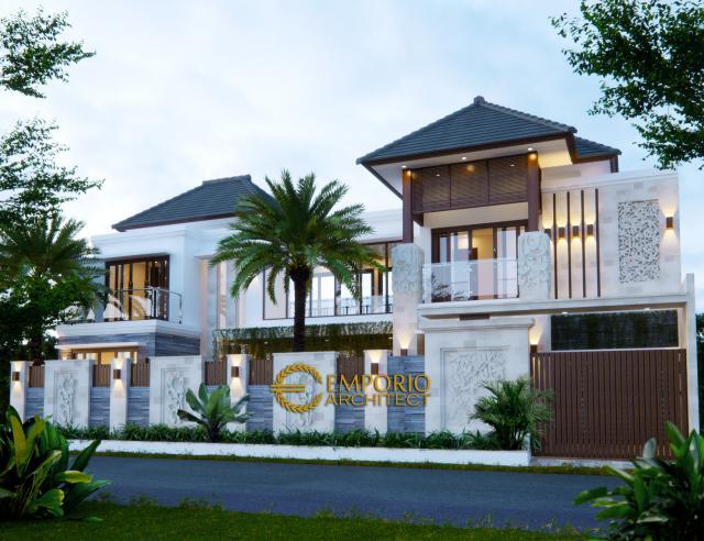 Desain Exterior Rumah Villa Bali 2 Lantai Bapak Erik di Kendari, Sulawesi Tenggara