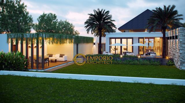 Desain Tampak Belakang Rumah Villa Bali 1 Lantai Bapak Farizal di Aceh