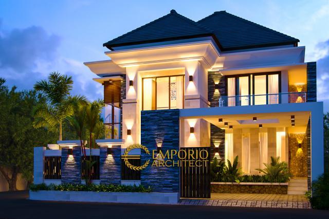 Desain Exterior 1 Rumah Villa Bali 2 Lantai Bapak Hanif di Banten