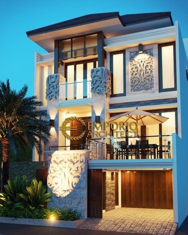 Desain Exterior Rumah Villa Bali 3 Lantai Bapak Joko di Jakarta