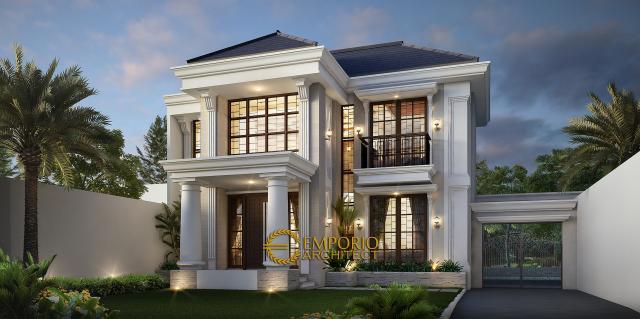 Desain Tampak Depan Rumah Classic 2 Lantai Bapak Kusno di Depok, Jawa Barat
