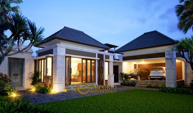 Desain Exterior Rumah Villa Bali 1 Lantai Bapak Komang Adi di Kerobokan, Bali